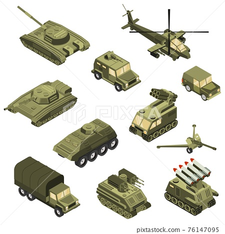 Military Vehicles Isometric Set 76147095