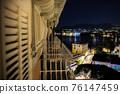 night view sea at night on Italian Riviera of Portofino balcony beautiful travel background with 76147459