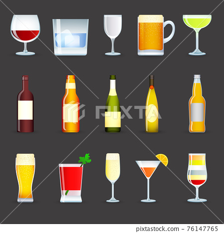 Alcohol Drinks Icons Set 76147765