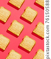 Toasted sandwich pattern on pink background, from above, hard shadow 76150588