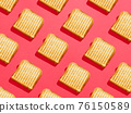 Toasted sandwich pattern on pink background, from above, hard shadow 76150589