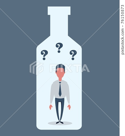 Alcohol and addiction, Young male character trapped inside a bottle, health problems 76150873