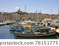 View of Marseille's Vieux Port and Notre Dame de la Garde church, France 76151775