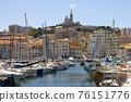View of Marseille's Vieux Port and Notre Dame de la Garde church, France 76151776