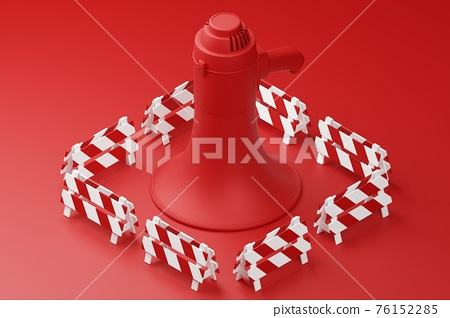 Red Megaphone with partition barrier 3D rendering, Protest against dictatorship threaten censored press concept poster and social banner horizontal design background with copy space 76152285