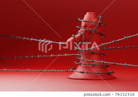 Red Megaphone with black wiggle barbed wire 3D rendering, Protest against dictatorship threaten censored press concept poster and social banner horizontal design background with copy space 76152316