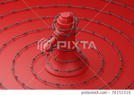 Red Megaphone with black wiggle barbed wire 3D rendering, Protest against dictatorship threaten censored press concept poster and social banner horizontal design background with copy space 76152318