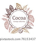 Banner with cocoa beans and plants 76153437