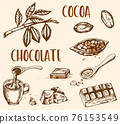 Vintage cocoa beans and chocolate 76153549