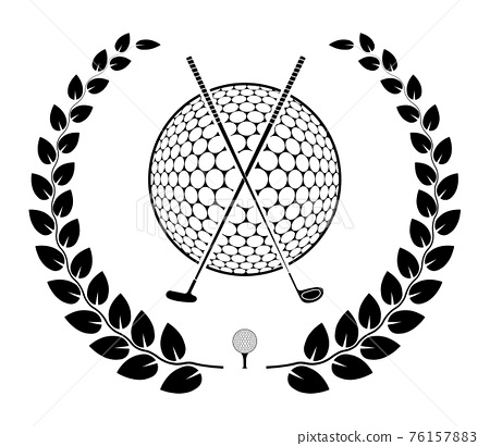emblem of crossed sports golf clubs and ball with laurel wreath for competition. Sports equipment symbol. Active lifestyle. Vector 76157883