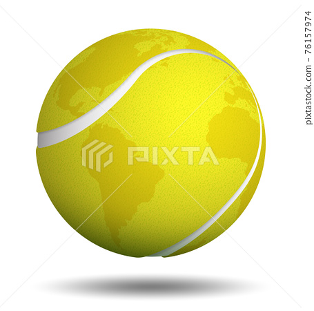 Realistic sport ball for tennis with continents of planet on white background. Isolated vector 76157974