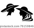 elegant woman wearing wide hat vector profile head portrait 76159846