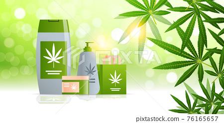medical marijuana cannabis packaging organic hemp product label logo green farm concept horizontal flat 76165657
