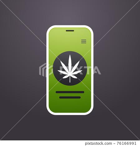 smartphone screen with marijuana leaf icon mobile app drug dealer order cannabis hemp medicine online buying drugs concept 76166991