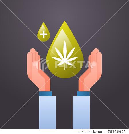hands holding cbd hemp oil drop extracted from marijuana plant cannabis leaf drug consumption concept flat 76166992