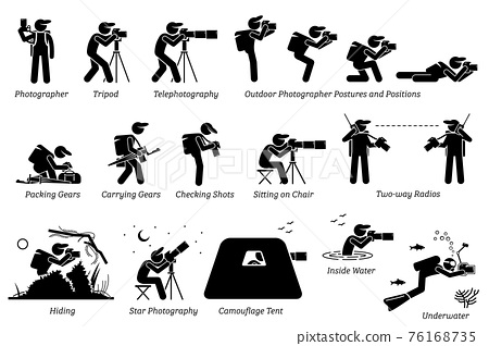 Outdoor photographer photography gears. An adventurous photographer taking pictures with different postures at outdoor. Including star photography, camouflage tent, wildlife, and underwater pictures. 76168735