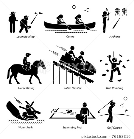 Outdoor Club Games and Recreational Activities. Stick figure depict outdoor games lawn bowling, canoe, archery, horse riding, roller coaster, wall climbing, water park, swimming pool, and golf course. 76168816