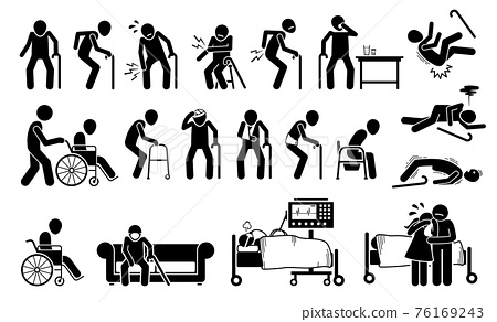 Injured old man with body ache and joint pain. Vector illustrations of elderly men with injury using wheelchair, bandage plaster cast for broken bone. People on ventilator respirator at ICU hospital. 76169243