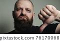 Bald battered man shows dislike 76170068