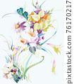 色彩豐富的花卉素材組合和設計元素 76170217