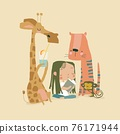 Little girl reading book with cute animals 76171944