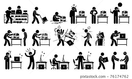 Man fixing, repairing, setup, and assembling a new PC by custom build the computer. Vector artwork depicts a computer technician upgrading and setting up a new computer with hardware parts. 76174762