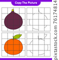 Copy the picture, copy the picture of Fruits using grid lines. Educational children game, printable worksheet, vector illustration 76174814