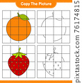 Copy the picture, copy the picture of Fruits using grid lines. Educational children game, printable worksheet, vector illustration 76174815