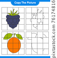 Copy the picture, copy the picture of Fruits using grid lines. Educational children game, printable worksheet, vector illustration 76174816