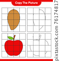 Copy the picture, copy the picture of Fruits using grid lines. Educational children game, printable worksheet, vector illustration 76174817