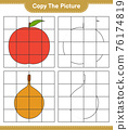 Copy the picture, copy the picture of Fruits using grid lines. Educational children game, printable worksheet, vector illustration 76174819