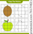 Copy the picture, copy the picture of Fruits using grid lines. Educational children game, printable worksheet, vector illustration 76174821