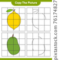 Copy the picture, copy the picture of Fruits using grid lines. Educational children game, printable worksheet, vector illustration 76174827