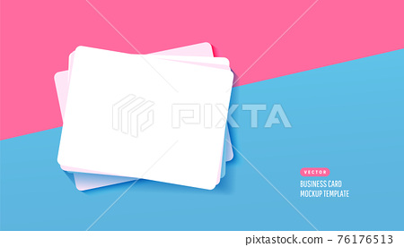 Paper white business card for design template with shadows on a blue background. Vector illustration. Flat lay, top view 76176513