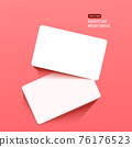 Horizontal white business cards on a bright pink background. Realistic mockup card. 76176523