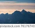 Above of peaked mountain range with cloudy in the morning 76176740