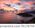 Scenery of tropical sea with colorful sky on Laem Promthep Cape, Phuket at the sunset 76176745