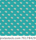 Pattern with many fried eggs on plates 76178429