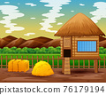 Chicken coop in the middle of nature landscape 76179194