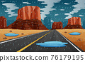 Background scene with rain in the road illustration 76179195