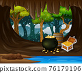 Treasure cave with golden coins in chest and wooden barrel 76179196