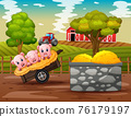 Farm scene with three little pigs on the cart 76179197