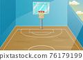 Background scene with indoor basketball court illustration 76179199