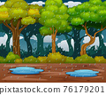 Scene with rainfall in the forest illustration 76179201