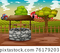 A stone well with farm landscape illustration 76179203