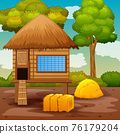 Scene with chicken coop in the farm landscape 76179204
