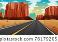 A road at desert illustration 76179205