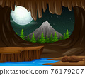 A landscape view from cave entrance illustration 76179207