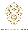 gold line art of the front of the lion's head. It is sign of leo zodiac. Good use for symbol, mascot, icon, avatar, tattoo, T Shirt design, logo or any design you want. 76179959