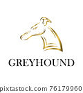 gold line art of Greyhound dog head. Good use for symbol, mascot, icon, avatar, tattoo, T Shirt design, logo or any design you want. 76179960